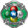 Hazmat Hazardous Materials Response Team Fire Fighter Decal with Maltese Cross in Reflective Diamond Plate Green