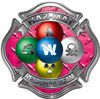 Hazmat Hazardous Materials Response Team Fire Fighter Decal with Maltese Cross in Reflective Diamond Plate Pink