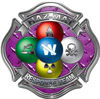 Hazmat Hazardous Materials Response Team Fire Fighter Decal with Maltese Cross in Reflective Diamond Plate Purple