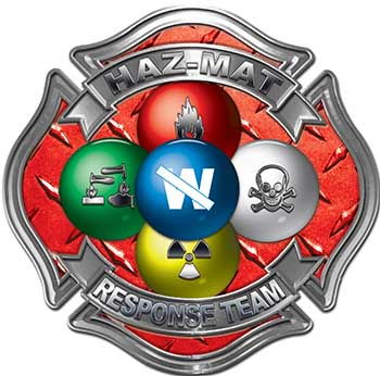 Hazmat Hazardous Materials Response Team Fire Fighter Decal with Maltese Cross in Reflective Diamond Plate Red