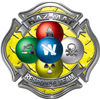 Hazmat Hazardous Materials Response Team Fire Fighter Decal with Maltese Cross in Reflective Diamond Plate Yellow