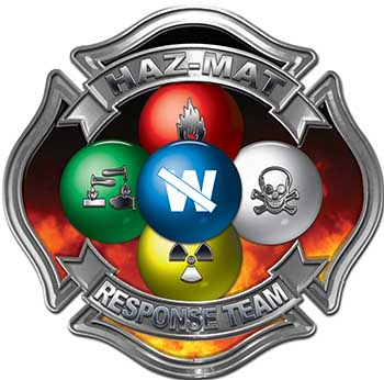 Hazmat Hazardous Materials Response Team Fire Fighter Decal with Maltese Cross in Reflective Fire