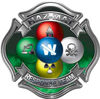 Hazmat Hazardous Materials Response Team Fire Fighter Decal with Maltese Cross in Reflective Green