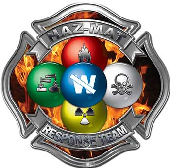 Hazmat Hazardous Materials Response Team Fire Fighter Decal with Maltese Cross in Reflective Inferno