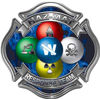 Hazmat Hazardous Materials Response Team Fire Fighter Decal with Maltese Cross in Reflective Inferno Blue