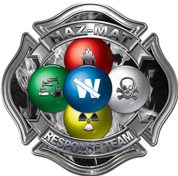 Hazmat Hazardous Materials Response Team Fire Fighter Decal with Maltese Cross in Reflective Inferno Gray
