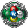Hazmat Hazardous Materials Response Team Fire Fighter Decal with Maltese Cross in Reflective Inferno Green