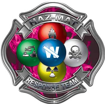 Hazmat Hazardous Materials Response Team Fire Fighter Decal with Maltese Cross in Reflective Inferno Pink