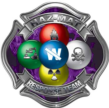 Hazmat Hazardous Materials Response Team Fire Fighter Decal with Maltese Cross in Reflective Inferno Purple