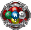 Hazmat Hazardous Materials Response Team Fire Fighter Decal with Maltese Cross in Reflective Inferno Red