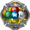 Hazmat Hazardous Materials Response Team Fire Fighter Decal with Maltese Cross in Reflective Inferno Yellow