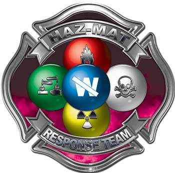 Hazmat Hazardous Materials Response Team Fire Fighter Decal with Maltese Cross in Reflective Pink