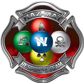 Hazmat Hazardous Materials Response Team Fire Fighter Decal with Maltese Cross in Reflective Red