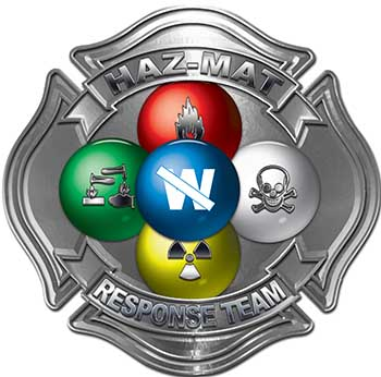 Hazmat Hazardous Materials Response Team Fire Fighter Decal with Maltese Cross in Reflective Silver