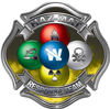 Hazmat Hazardous Materials Response Team Fire Fighter Decal with Maltese Cross in Reflective Yellow