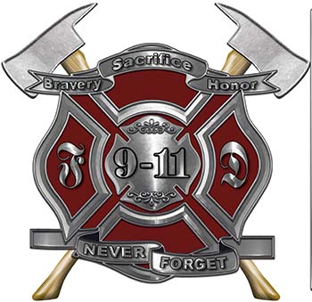 Never Forget 911 Bravery Honor and Sacrifice 9-11 Firefighter Memorial Decal in Dark Red