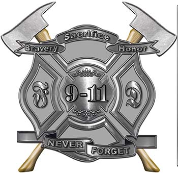 Never Forget 911 Bravery Honor and Sacrifice 9-11 Firefighter Memorial Decal in Gray