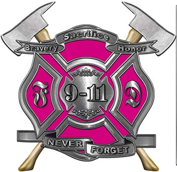 Never Forget 911 Bravery Honor and Sacrifice 9-11 Firefighter Memorial Decal in Pink