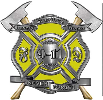 Never Forget 911 Bravery Honor and Sacrifice 9-11 Firefighter Memorial Decal in Yellow