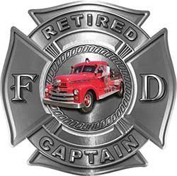 Retired Captain Firefighter Decal with Antique Fire Truck in Silver