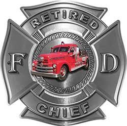 Retired Chief Firefighter Decal with Antique Fire Truck in Silver
