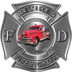 Retired Firefighter Decal with Antique Fire Truck in Silver