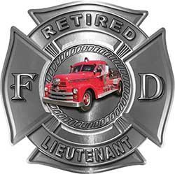 Retired Lieutenant Firefighter Decal with Antique Fire Truck in Silver