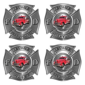 Retired Firefighter Decals with Antique Fire Truck
