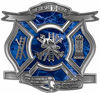 The Desire To Serve Firefighter Maltese Cross Reflective Decal in Blue Camouflage