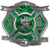 The Desire To Serve Firefighter Maltese Cross Reflective Decal in Green Camouflage