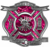 The Desire To Serve Firefighter Maltese Cross Reflective Decal in Pink Camouflage