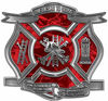 The Desire To Serve Firefighter Maltese Cross Reflective Decal in Red Camouflage