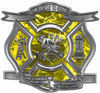 The Desire To Serve Firefighter Maltese Cross Reflective Decal in Yellow Camouflage