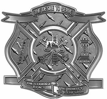 The Desire To Serve Firefighter Maltese Cross Reflective Decal in Diamond Plate