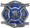 The Desire To Serve Firefighter Maltese Cross Reflective Decal in Blue Diamond Plate