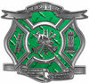 The Desire To Serve Firefighter Maltese Cross Reflective Decal in Green Diamond Plate