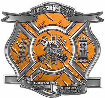 The Desire To Serve Firefighter Maltese Cross Reflective Decal in Orange Diamond Plate