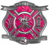 The Desire To Serve Firefighter Maltese Cross Reflective Decal in Pink Diamond Plate