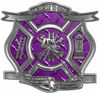 The Desire To Serve Firefighter Maltese Cross Reflective Decal in Purple Diamond Plate