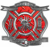 The Desire To Serve Firefighter Maltese Cross Reflective Decal in Red Diamond Plate