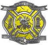 The Desire To Serve Firefighter Maltese Cross Reflective Decal in Yellow Diamond Plate