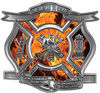 The Desire To Serve Firefighter Maltese Cross Reflective Decal with Inferno Flames