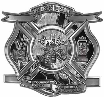 The Desire To Serve Firefighter Maltese Cross Reflective Decal with Gray Inferno Flames
