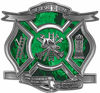 The Desire To Serve Firefighter Maltese Cross Reflective Decal with Green Inferno Flames