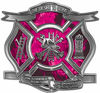 The Desire To Serve Firefighter Maltese Cross Reflective Decal with Pink Inferno Flames