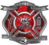 The Desire To Serve Firefighter Maltese Cross Reflective Decal with Red Inferno Flames