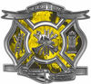 The Desire To Serve Firefighter Maltese Cross Reflective Decal with Yellow Inferno Flames