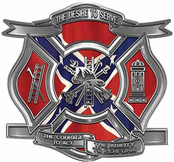 The Desire To Serve Firefighter Maltese Cross Reflective Decal with Confederate Rebel Flag