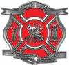 The Desire To Serve Firefighter Maltese Cross Reflective Decal in Red