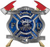 The Desire To Serve Twin Fire Axe Firefighter Maltese Cross Reflective Decal in Blue Camouflage
